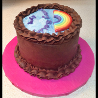 Simple Chocolate Cake With Fondant Rainbow I was contacted 3 days before the event to make a simple birthday cake with the cues of: super chocolate, rainbow, lilac writing. So I use...