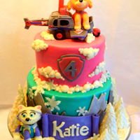 Skye And Everest Paw Patrol Cake Katie's Paw Patrol cake!! We did an 8 inch and 6 inch, 2 tier cake for this adorable birthday girl! The top tier is Skye themed and...