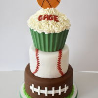 Sports Birthday Cake I made this for a little guy I babysit. It was done very last minute so I'm happy it turned out well. I'll fondant except for the...
