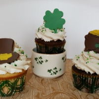 St. Patrick's Day Cupcakes Chocolate and Vanilla cupcakes frosted with Sam's Whipped Vanilla Icing, flavored with Bailey's Irish Cream. Toppers are made of...