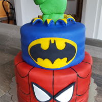 Superhero Birthday Cake For Cam - Spiderman, Batman and Hulk cake