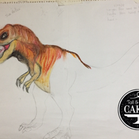 T Rex Cake Sketch For My 5 Year Grandson My grandson who is turning 5 years asked for a Red T Rex cake and has been watching the sketch come alive and is loving the yellows,...