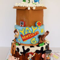 Toy Story cake covered with mmf and gum paste decorations