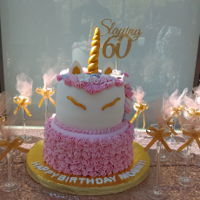 "Virginia's 60Th Birthday Cake Last year I was talking to Virginia about the unicorn cake being on my bucket list but no one wanted one. She said ""I love unicorns!..."