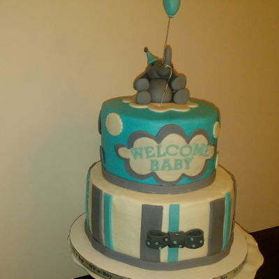 Baby Shower Cake Fondant elephant with balloon and fondant accents.