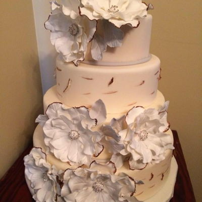 Birch Bark Cake With Fantasy Flowers