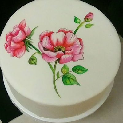 Hand Painted Rose Cake hand painted cake