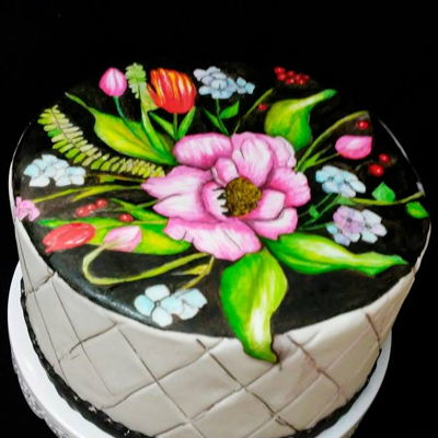 Hand Painted Spring Floral Cake hand painted fondant cake