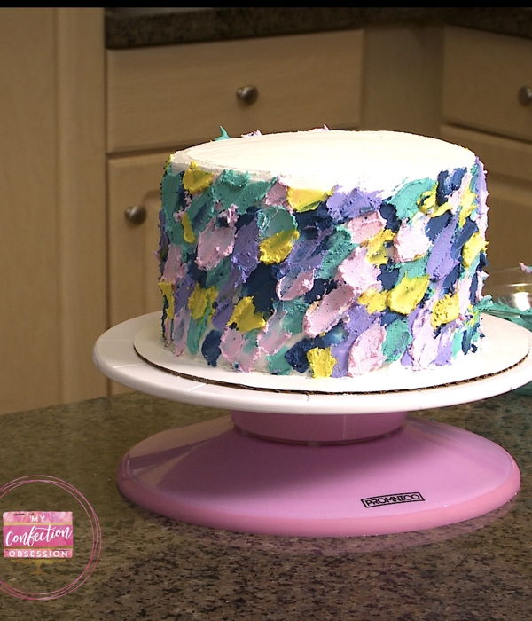Painted Buttercream Brushstroke Cake