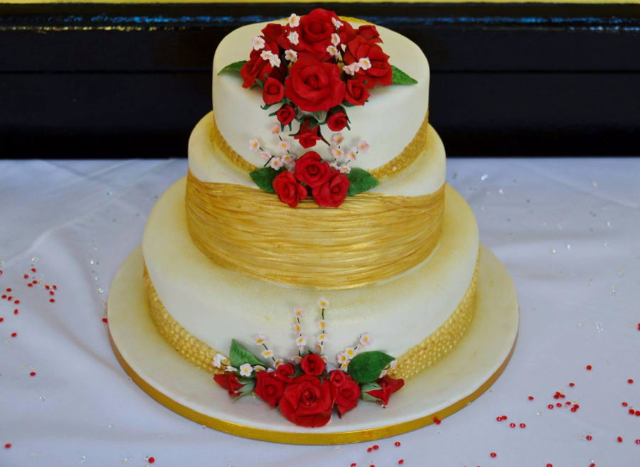 3 Tier Wedding Cake With Red Roses - CakeCentral.com
