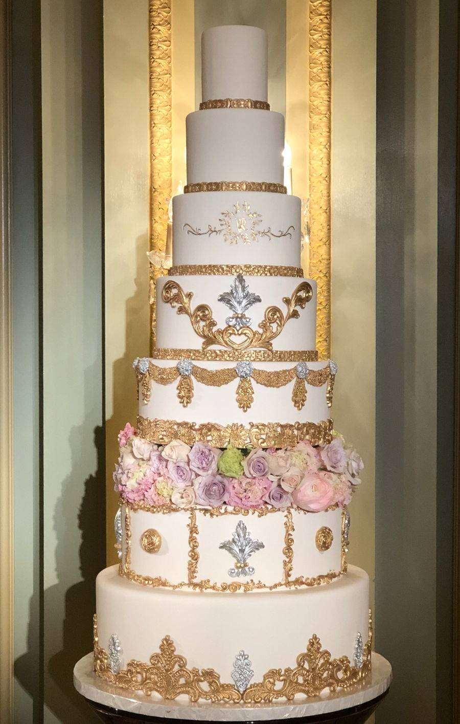 8 Tiers Wedding Cake With Gold And Silver Decorations - CakeCentral.com