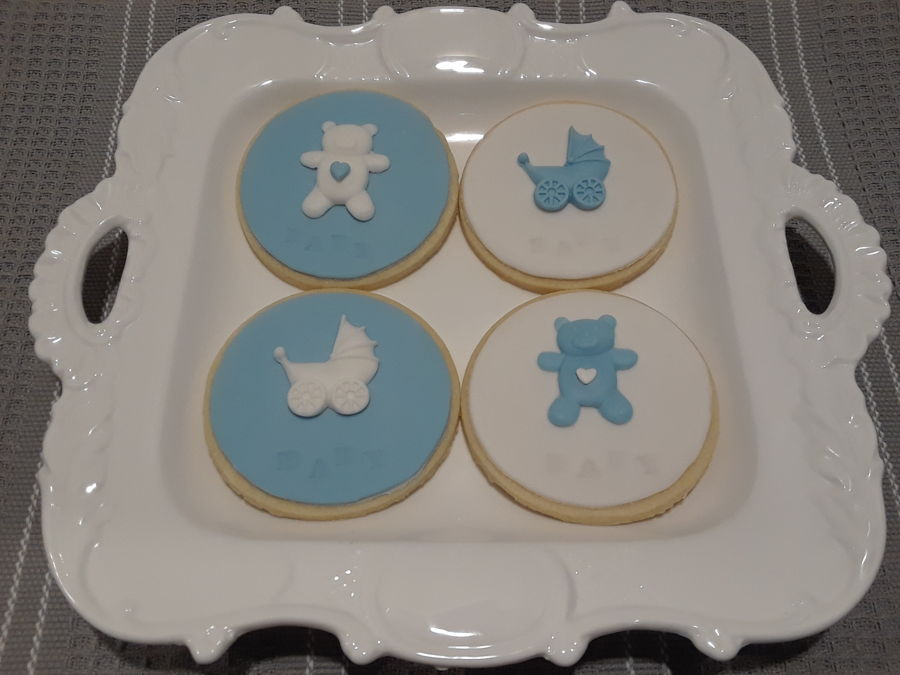 Boy Baby Shower Round Cookies Cakecentral