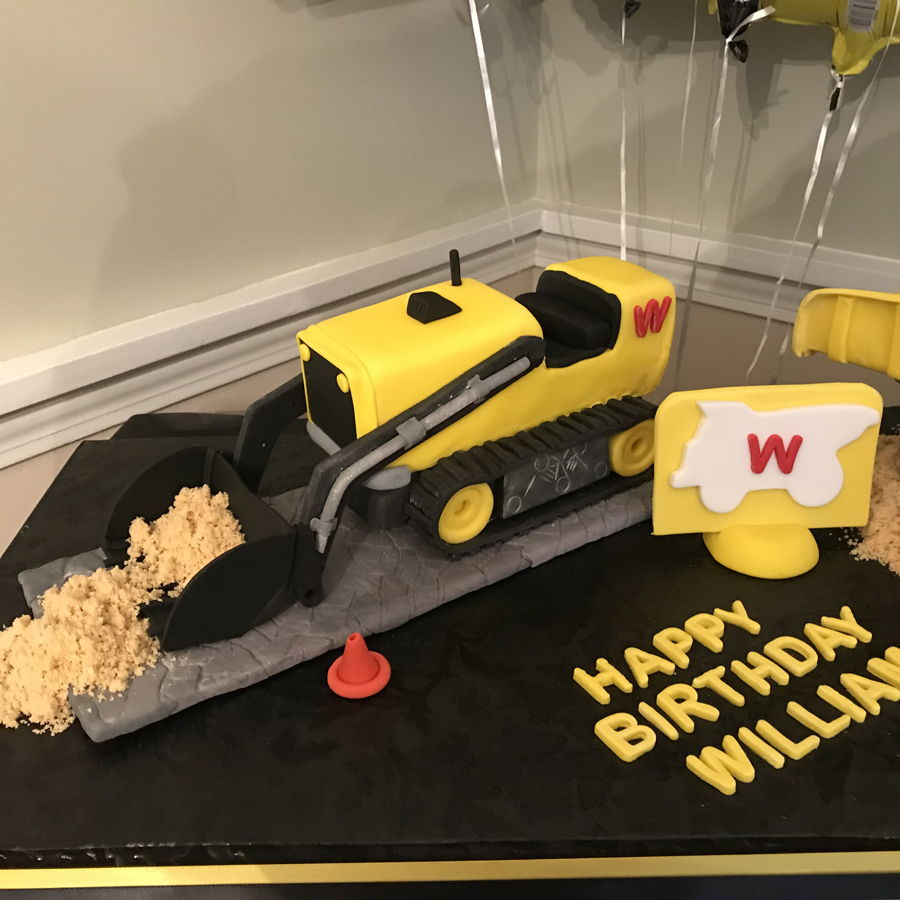 Two Carved Cakes For Construction Theme Birthday Party Fondant And Gumpaste Used Accents Crushed Oreos Dirt Sand