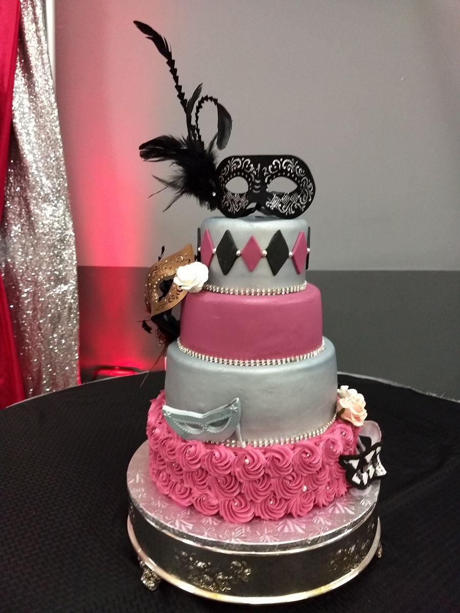 Masquerade Theme Birthday Cake - CakeCentral.com