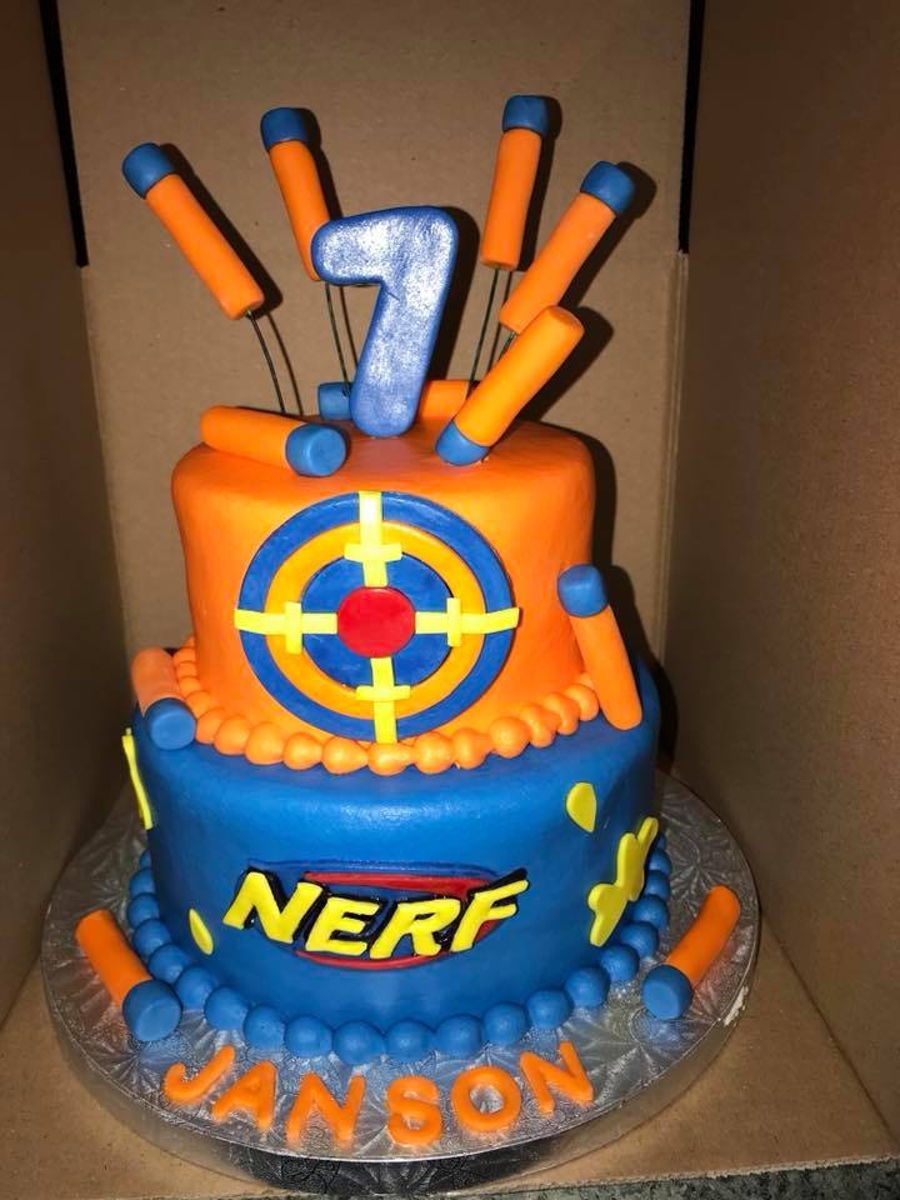 Miraculous Nerf Birthday Cake Cakecentral Com Personalised Birthday Cards Veneteletsinfo