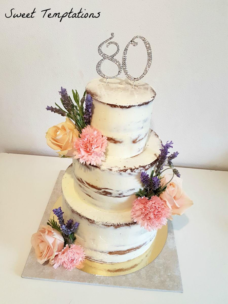 Cake For My Grandmas 80th Birthday Seminaked With Real Flowers