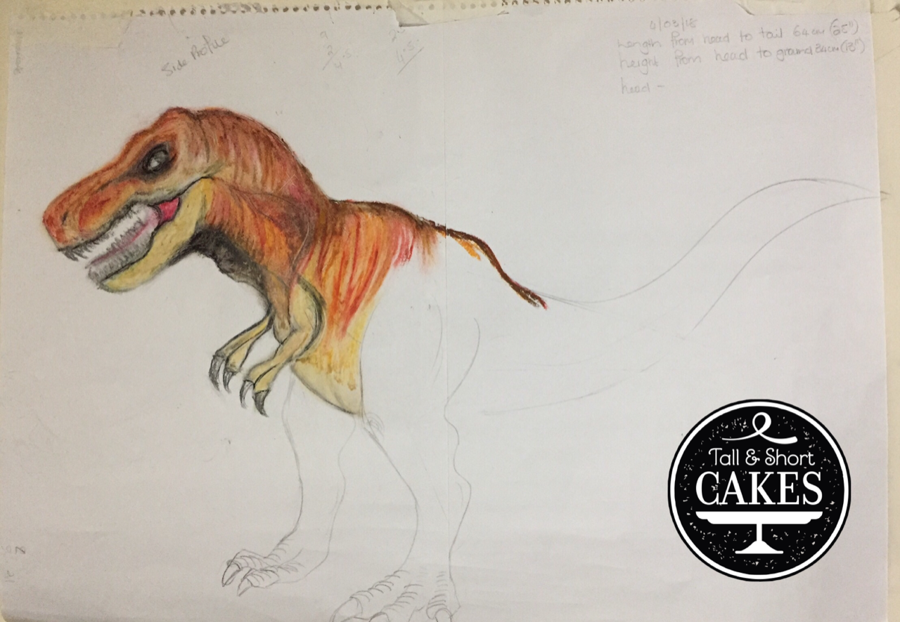 T Rex Cake Sketch For My 5 Year Grandson on Cake Central