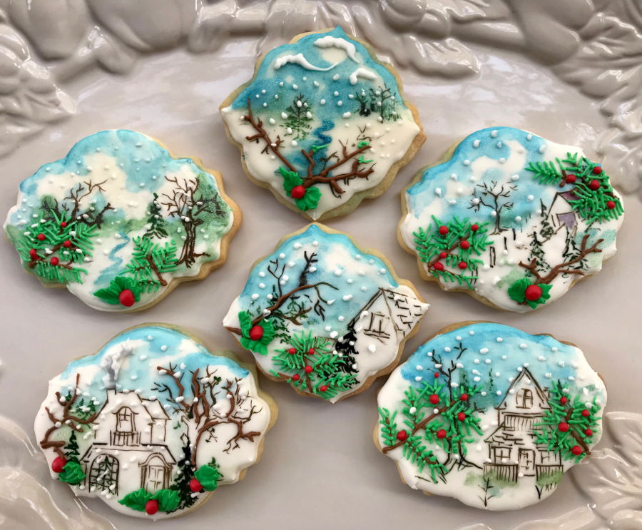 Winter Scenery Cookies on Cake Central