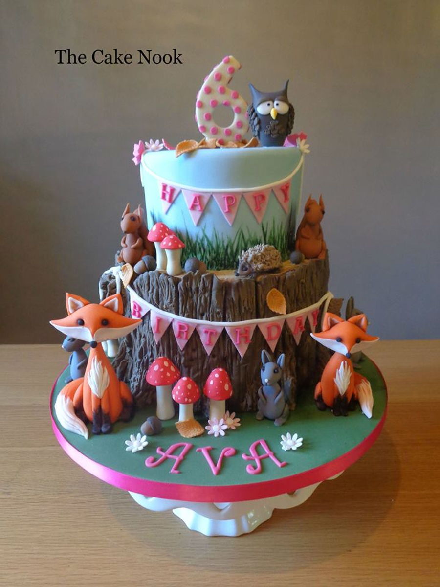 Woodland Themed Birthday Cake. - CakeCentral.com