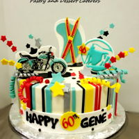 "6Oth Motorcycle Cake Buttercream finish with fondant decor. Motorcycle and ""Prudential"" Rock image were drawn with royal icing"