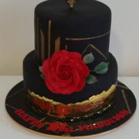 Art Deco Inspired Two tier , Gatsby inpired art deco cake , gold leaf accent. Hand made sugar rose. Hand painted Gold detail