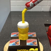 Beer Pouring Cake My 1st ever beer pouring cake for a friends 21st with edible beer mats