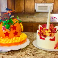 Birthday Cakes The Dragonball and unicorn cake side by side. Half of my childhood right there. My 2 favorite cakes that I've done by far.