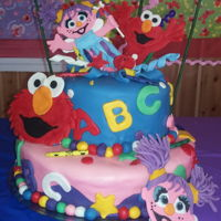 Elmo Abby Cake The top cake looks that they exploded from the cake