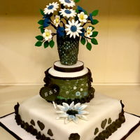 Flower Vase Wedding Cake Wedding cake for a small intimate wedding. Graphics and flowers based on bride's non traditional dress