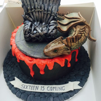 Game Of Thrones Triple layered sponge with jam and buttercream decorated with marbled black/brown fondant brushed with bronze, with a red chocolate drip...