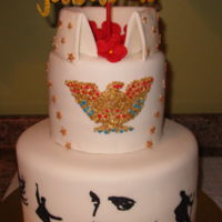 Gladys' Elvis Birthday Cake This was made for an Elvis loving fan. I used an eagle cutter, cut out a thin piece, applied red & blue fondant dots then brush the...