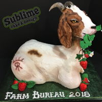 Goat Eating Strawberries! This goat cake represents a farmer's two main exports: boer goats and strawberries! He is all edible, all buttercream except for the...