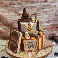 Harry Potter Birthday I made this for my son for his 10th birthday. The hat and book were RKT in modeling chocolate. Most everything else was modeling with a...