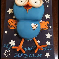 """Hoot"" From ""Giggle & Hoot"". (Carrot Cake). Grandsons favorite television character HOOT from the Giggle & Hoot show.Cake was right on for his image. It was a carrot cake filled..."