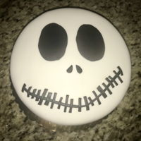 "Jack Skellington Cake 8"" round cake covered in buttercream. Jack Skellington from The Nightmare Before Christmas."