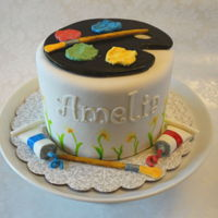 Painter's Pallet Six inch round in fondant with gumpaste decorations and hand-painting.