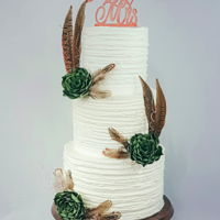 Rustic Wedding Cake Textured buttercream with sugar succulents
