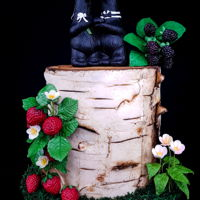 Rustic Wedding Cake Birch cake with sugar berries and adorable bear topper