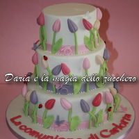 Tulip Cake Tulip-themed cake for Carlotta's first communion. Inspired by the web