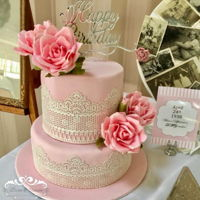 Vintage Rose Cake A pretty Vintage Rose Cake for our Beautiful Mum at her 80th Birthday High Tea Celebration! Bottom tier fruit cake top tier chocolate mud...