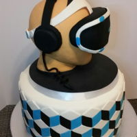 Virtual Reality Cake I made this cake for a colleague's birthday. The head is made out of rkt covered in fondant, optical illusion design on the cake...