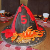 Volcano And Dragon My sweetie wanted a volcano cake but that's too boring. What he got was a fire-spitting volcano with a dragon guarding its horde of...