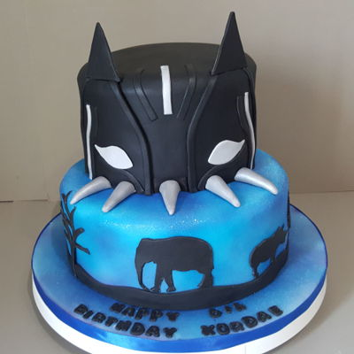 Black Panther Cake For A Huddersfield Customer Black Panther cake for a Huddersfield customer, with airbrushed bottom tier in silvers,blues and purples. https://goo.gl/33gv7d