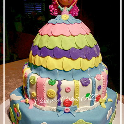 Lalaloopsy Cake Lalaloopsy themed cake covered in mmf with mmf decorations.