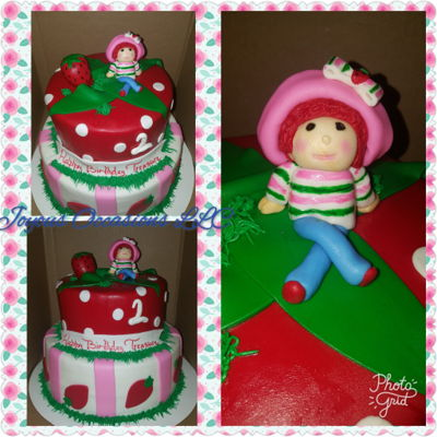 Strawberry Shortcake Themed Birthday Cake
