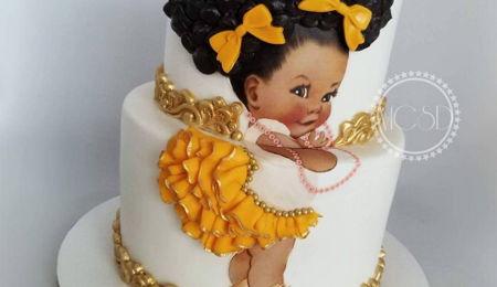 Cake afro black girl 12 Black