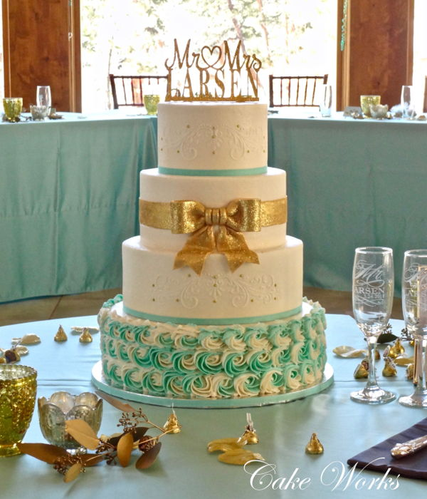 Elegant Sparkling Gold And Tiffany Blue Accents On...