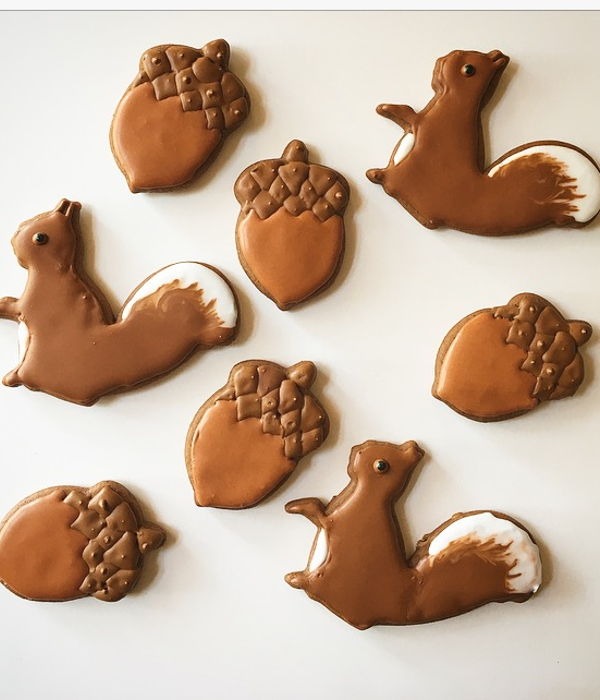 Squirrel And Acorn Gingerbread Cookies