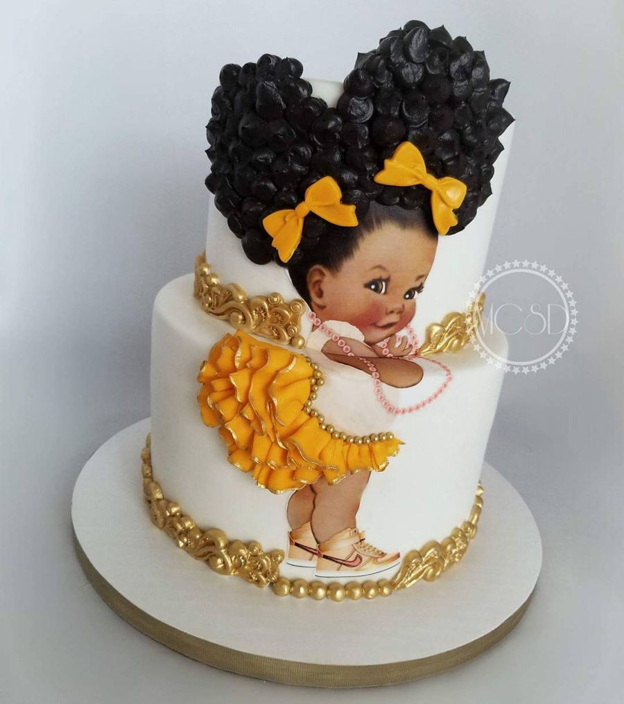 Afro Puff Baby Girl Cake Cakecentral Com