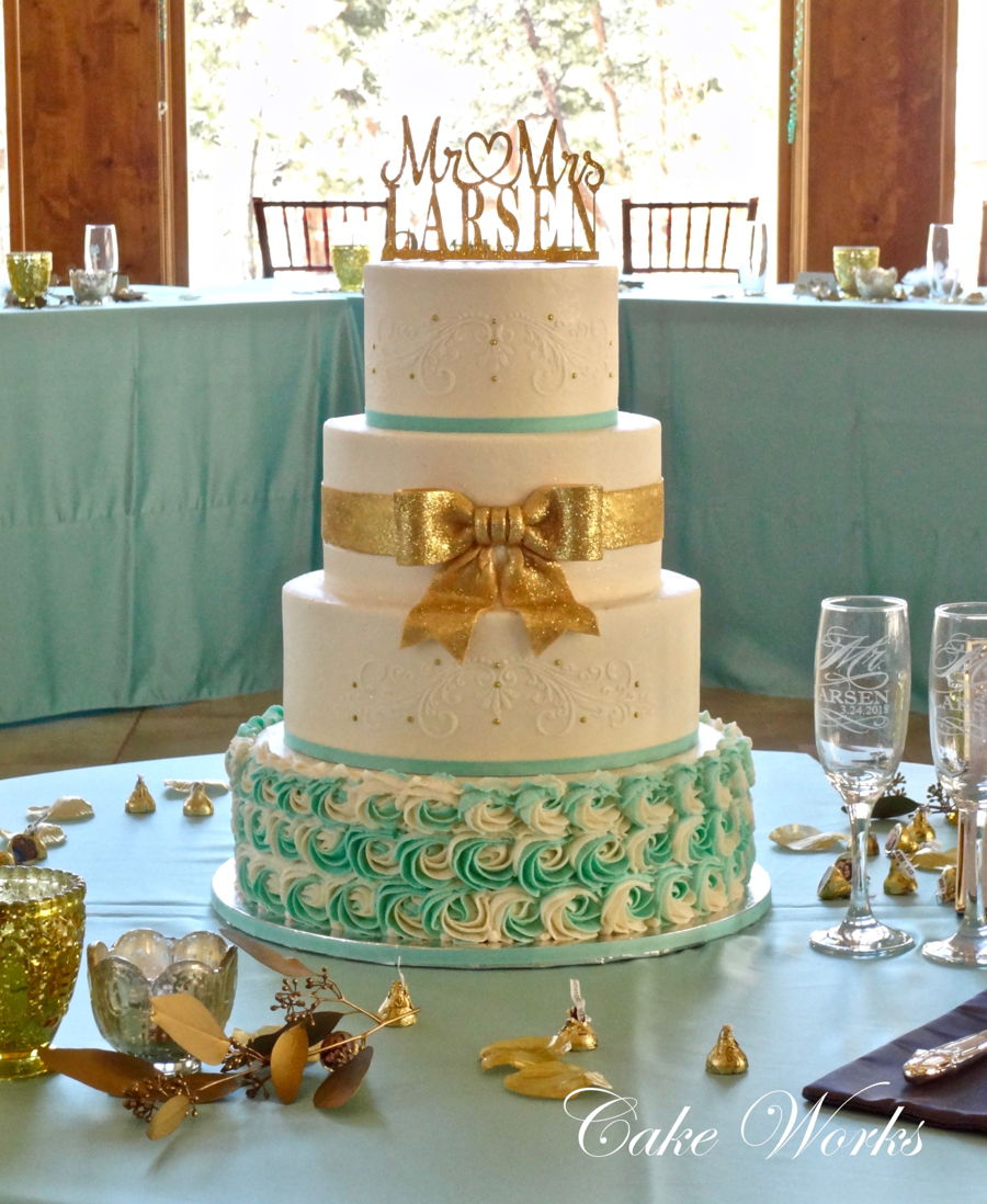 Elegant Sparkling Gold And Tiffany Blue Accents On Buttercream on Cake Central